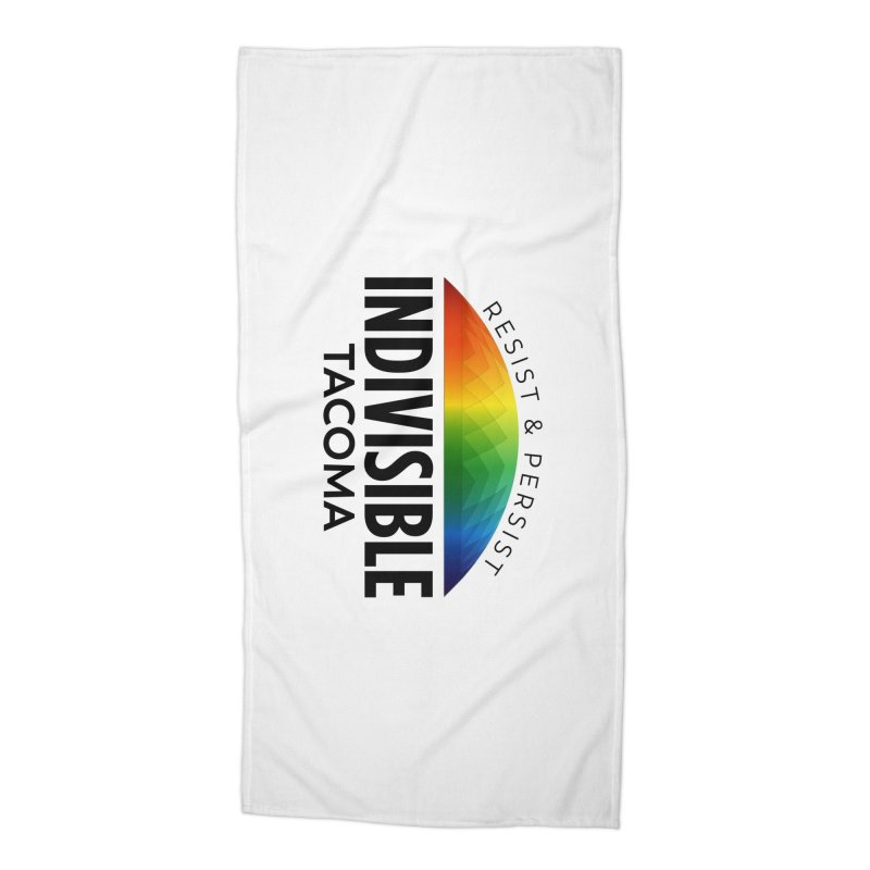 Indivisible Tacoma rainbow dome - black Accessories Beach Towel by SymerSpace Art Shop