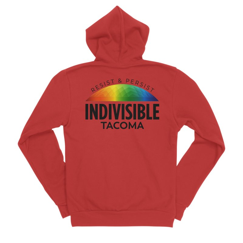 Indivisible Tacoma rainbow dome - black Women's Zip-Up Hoody by SymerSpace Art Shop
