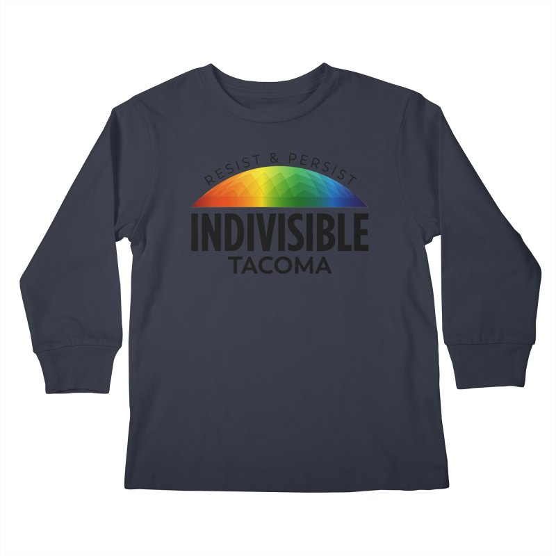 Indivisible Tacoma rainbow dome - black Kids Longsleeve T-Shirt by SymerSpace Art Shop