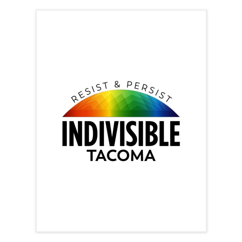 Indivisible Tacoma rainbow dome - black Home Fine Art Print by SymerSpace Art Shop