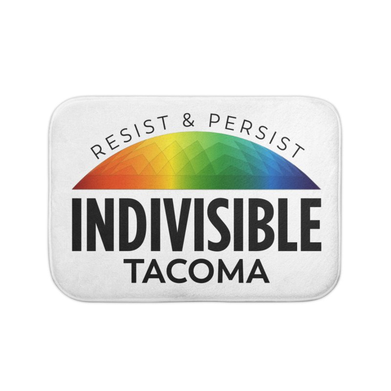 Indivisible Tacoma rainbow dome - black Home Bath Mat by SymerSpace Art Shop