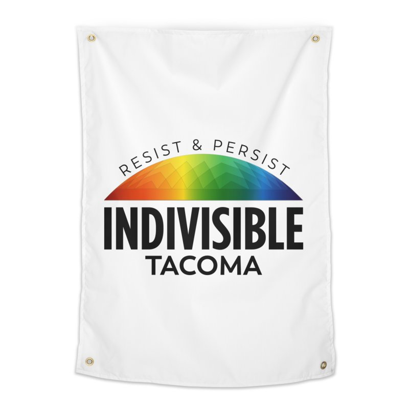 Indivisible Tacoma rainbow dome - black Home Tapestry by SymerSpace Art Shop