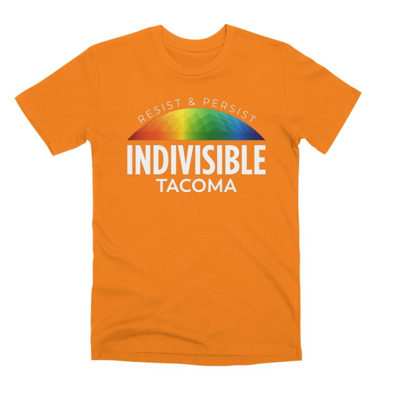 Indivisible Tacoma rainbow dome - white Men's T-Shirt by SymerSpace Art Shop