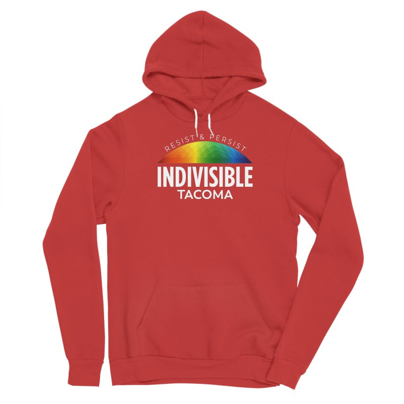 Indivisible Tacoma rainbow dome - white Men's Pullover Hoody by SymerSpace Art Shop