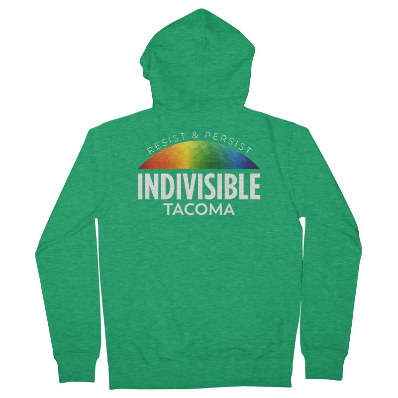 Indivisible Tacoma rainbow dome - white Women's Zip-Up Hoody by SymerSpace Art Shop
