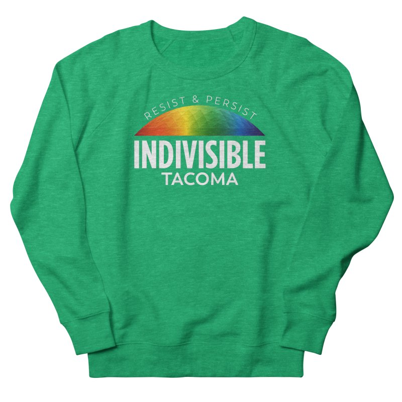 Indivisible Tacoma rainbow dome - white Women's Sweatshirt by SymerSpace Art Shop