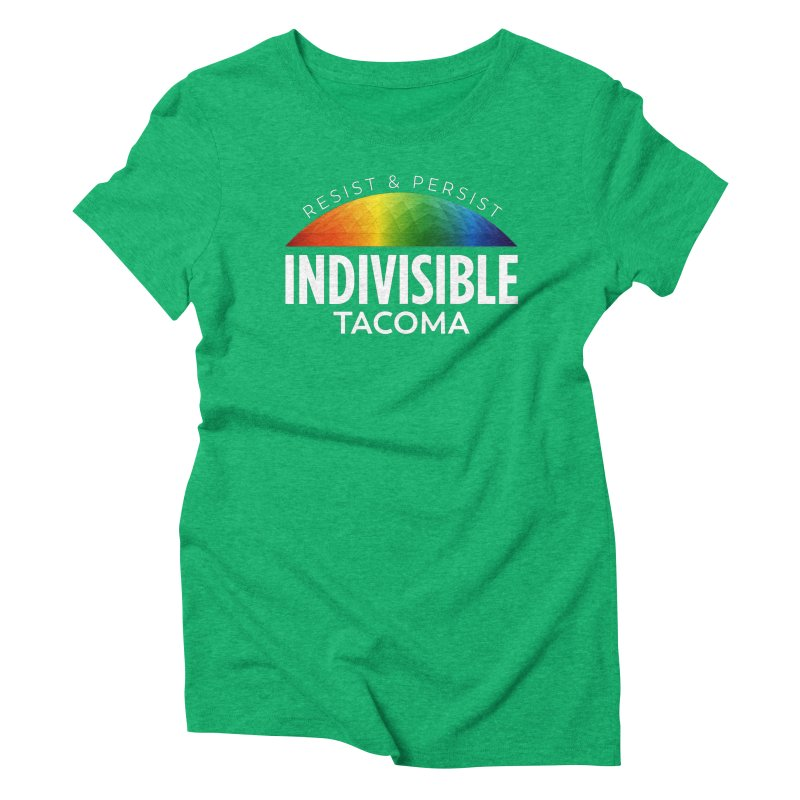 Indivisible Tacoma rainbow dome - white Women's T-Shirt by SymerSpace Art Shop