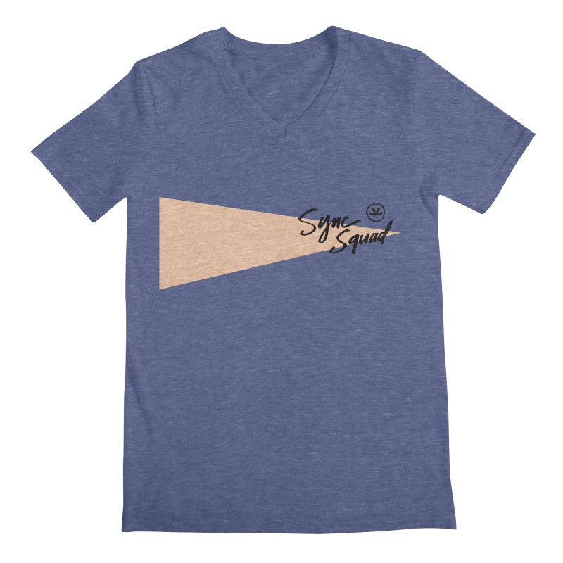 SYNCSQUAD in Peach Men's Regular V-Neck by SYNCSTUDIO Sweat Supplies