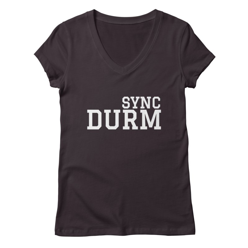 SYNC DURM in White Women's Regular V-Neck by SYNCSTUDIO Sweat Supplies