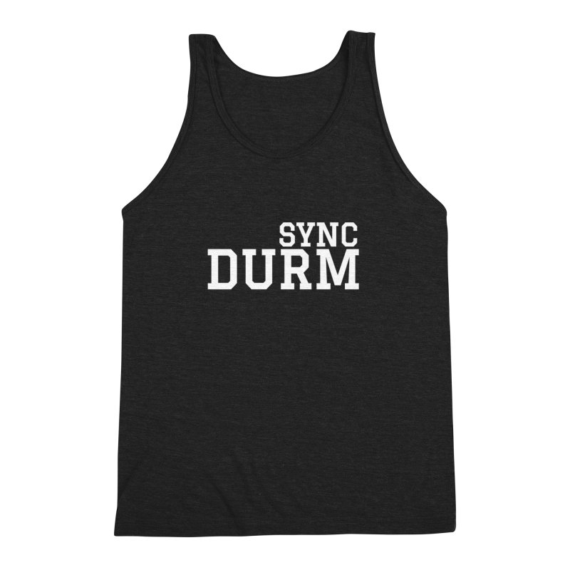 SYNC DURM in White Men's Triblend Tank by SYNCSTUDIO Sweat Supplies