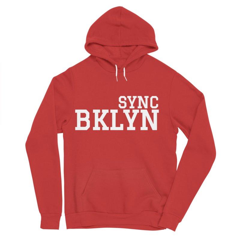 SYNC BKLYN in White Men's Sponge Fleece Pullover Hoody by SYNCSTUDIO Sweat Supplies