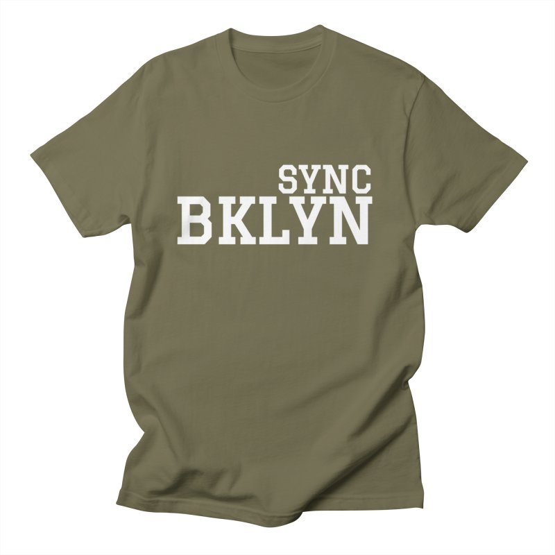 SYNC BKLYN in White Men's Regular T-Shirt by SYNCSTUDIO Sweat Supplies