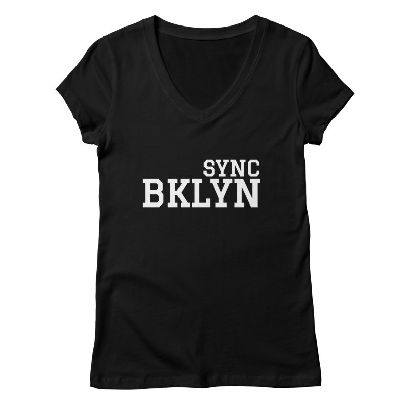 SYNC BKLYN in White Women's Regular V-Neck by SYNCSTUDIO Sweat Supplies