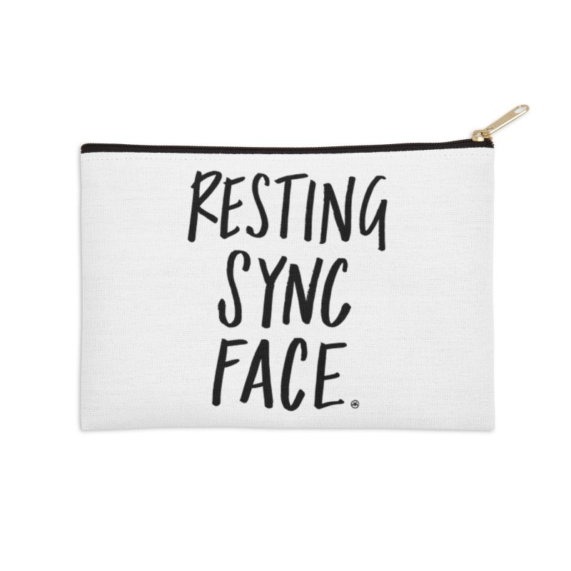 RESTING SYNC FACE Accessories Zip Pouch by SYNCSTUDIO Sweat Supplies
