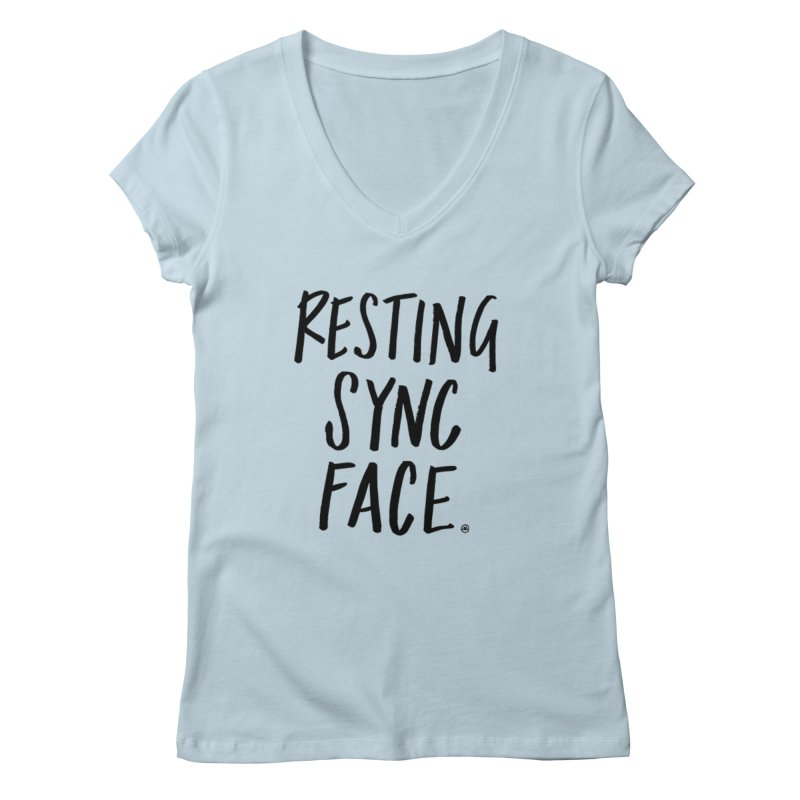 RESTING SYNC FACE Women's Regular V-Neck by SYNCSTUDIO Sweat Supplies