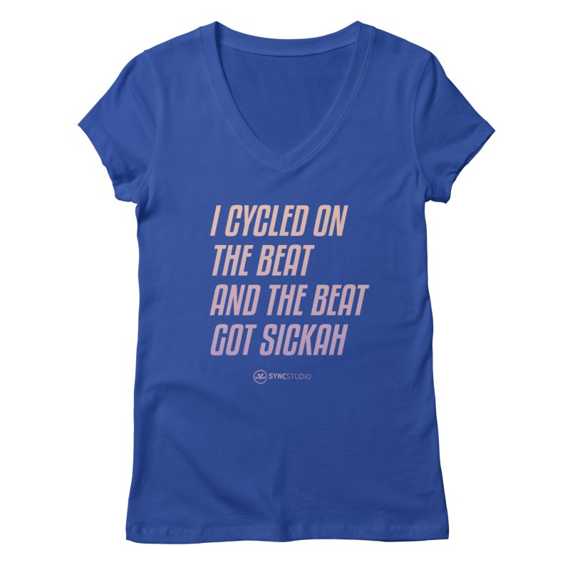 CYCLE ON THE BEAT Women's Regular V-Neck by SYNCSTUDIO Sweat Supplies