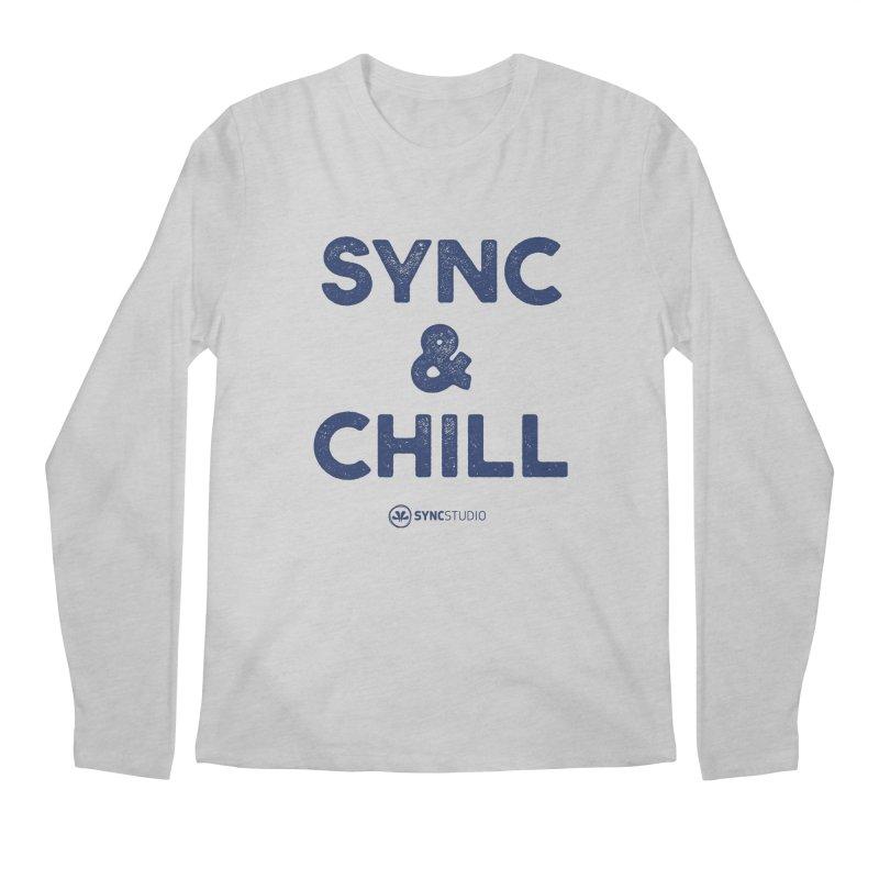 SYNC + CHILL Navy Men's Regular Longsleeve T-Shirt by SYNCSTUDIO Sweat Supplies