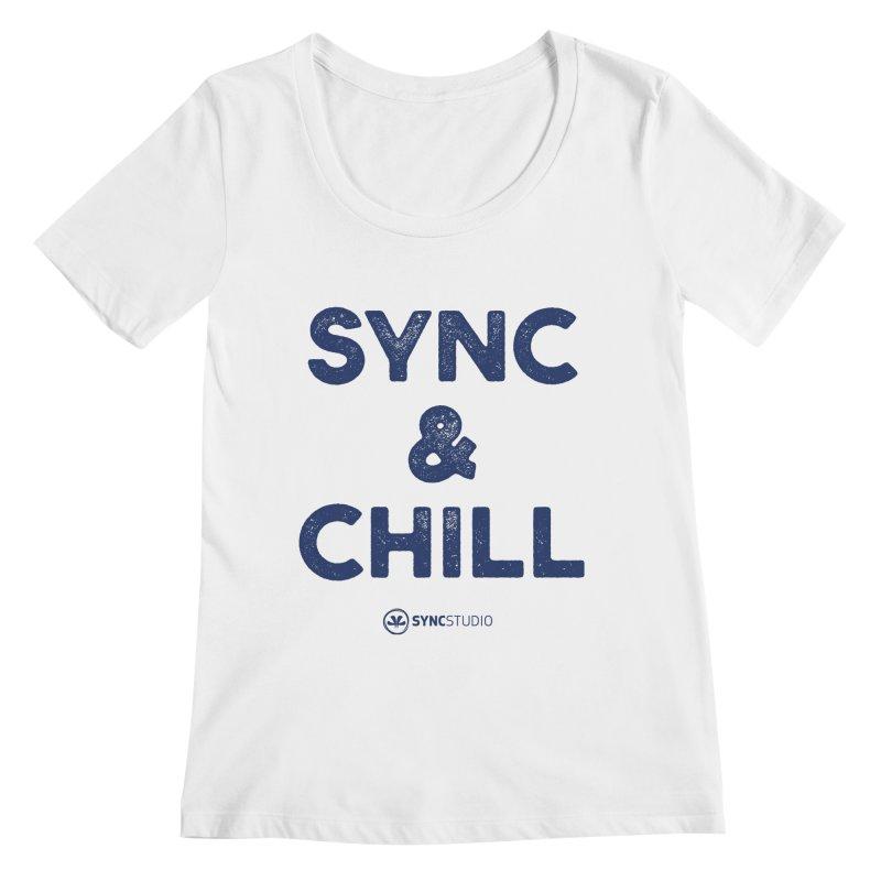 SYNC + CHILL Navy Women's Regular Scoop Neck by SYNCSTUDIO Sweat Supplies