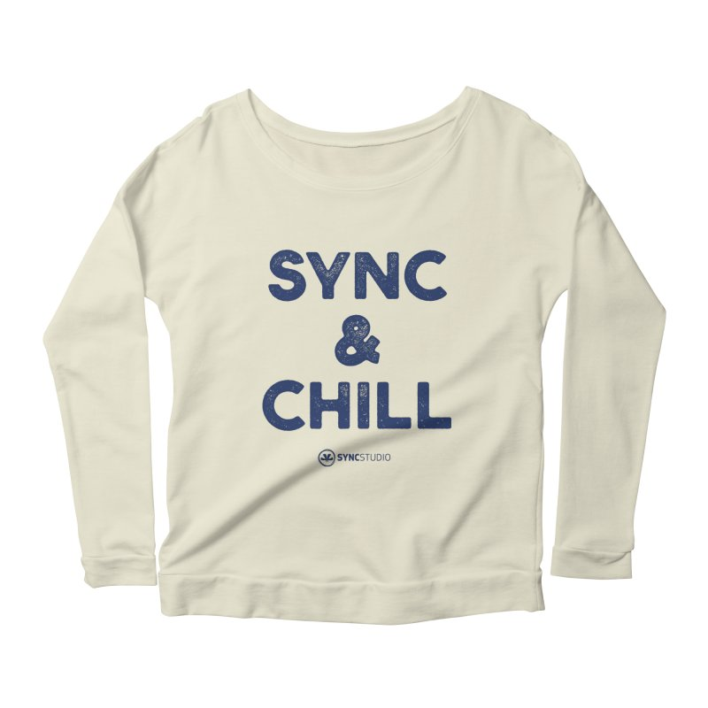 SYNC + CHILL Navy Women's Scoop Neck Longsleeve T-Shirt by SYNCSTUDIO Sweat Supplies