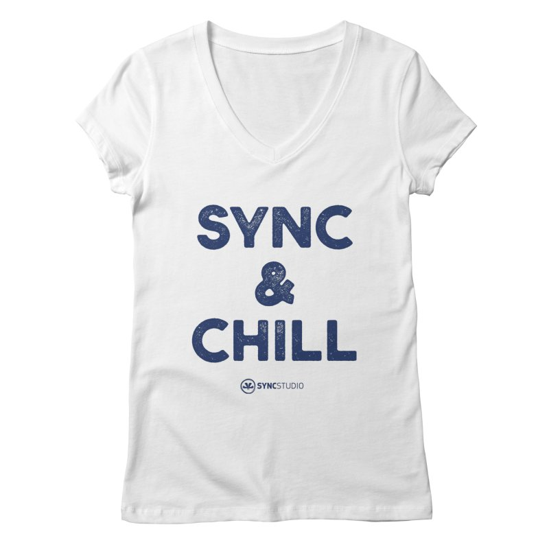 SYNC + CHILL Navy Women's Regular V-Neck by SYNCSTUDIO Sweat Supplies