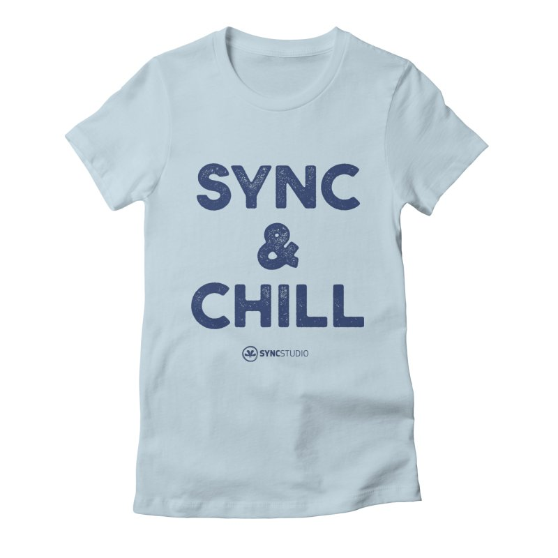 SYNC + CHILL Navy Women's Fitted T-Shirt by SYNCSTUDIO Sweat Supplies
