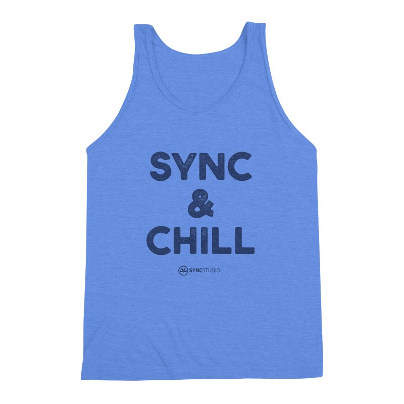 SYNC + CHILL Navy Men's Triblend Tank by SYNCSTUDIO Sweat Supplies