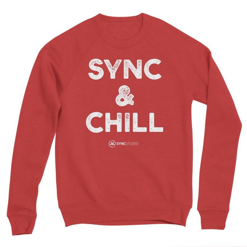 SYNC + Chill White Men's Sponge Fleece Sweatshirt by SYNCSTUDIO Sweat Supplies