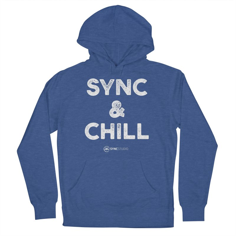 SYNC + Chill White Men's French Terry Pullover Hoody by SYNCSTUDIO Sweat Supplies