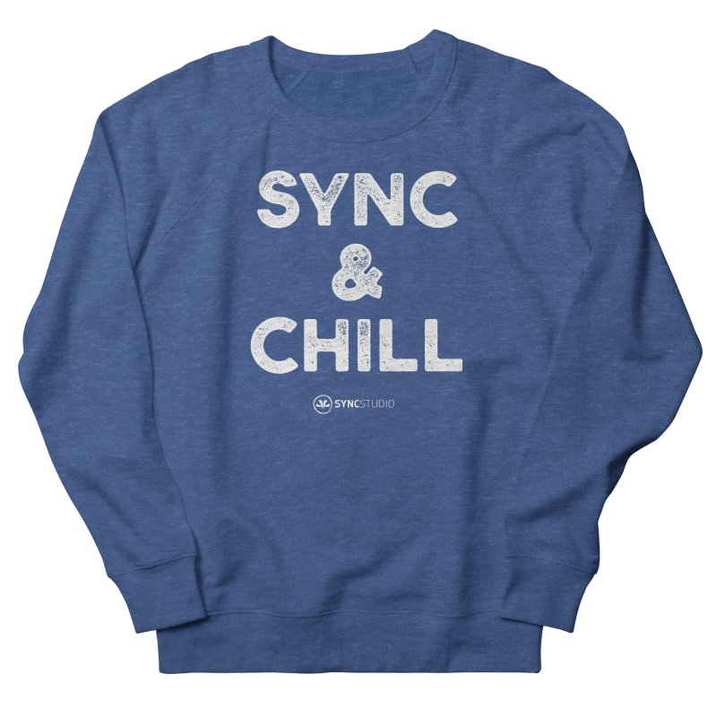 SYNC + Chill White Men's French Terry Sweatshirt by SYNCSTUDIO Sweat Supplies