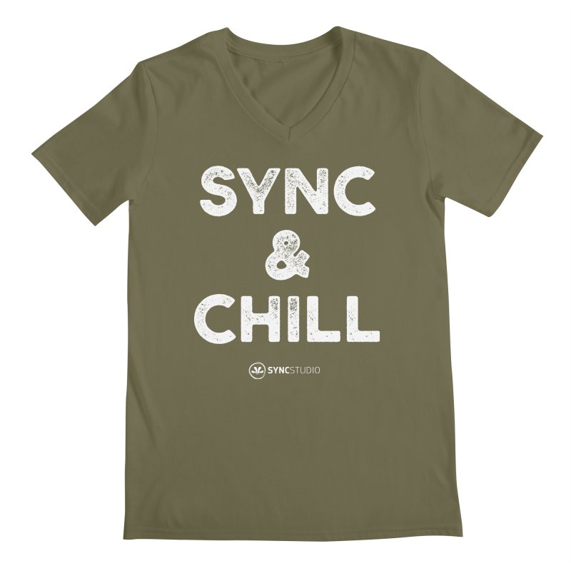 SYNC + Chill White Men's Regular V-Neck by SYNCSTUDIO Sweat Supplies