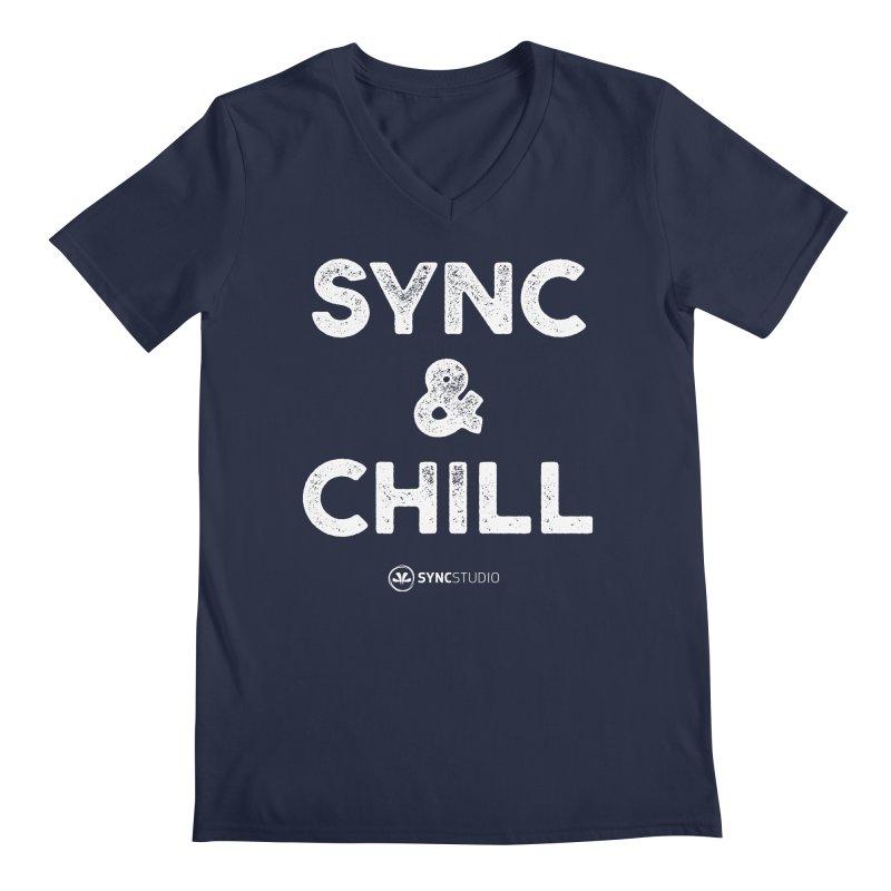 SYNC + Chill White Men's Regular V-Neck by SYNCSTUDIO Sweat Supplies