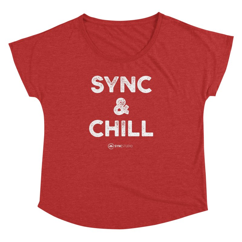 SYNC + Chill White Women's Dolman Scoop Neck by SYNCSTUDIO Sweat Supplies
