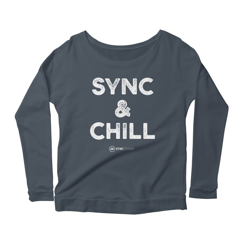 SYNC + Chill White Women's Scoop Neck Longsleeve T-Shirt by SYNCSTUDIO Sweat Supplies