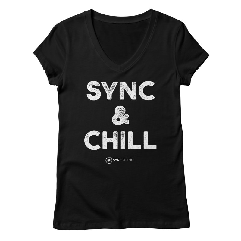 SYNC + Chill White Women's Regular V-Neck by SYNCSTUDIO Sweat Supplies