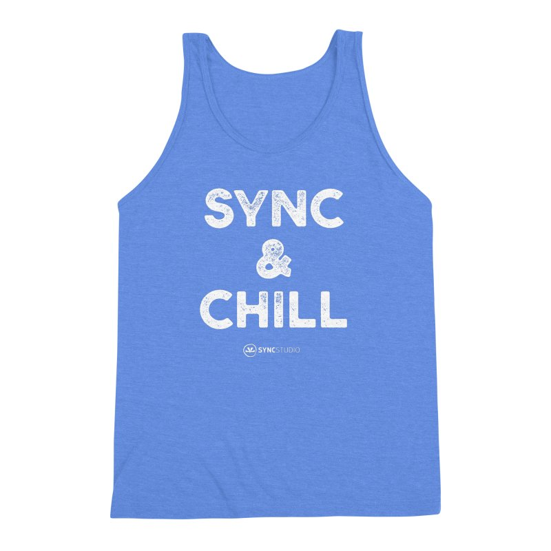 SYNC + Chill White Men's Triblend Tank by SYNCSTUDIO Sweat Supplies