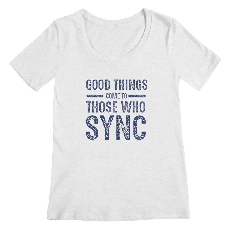 Good Things Navy Women's Regular Scoop Neck by SYNCSTUDIO Sweat Supplies