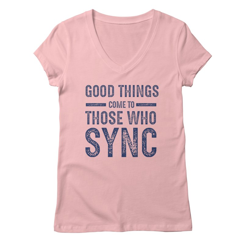 Good Things Navy Women's Regular V-Neck by SYNCSTUDIO Sweat Supplies