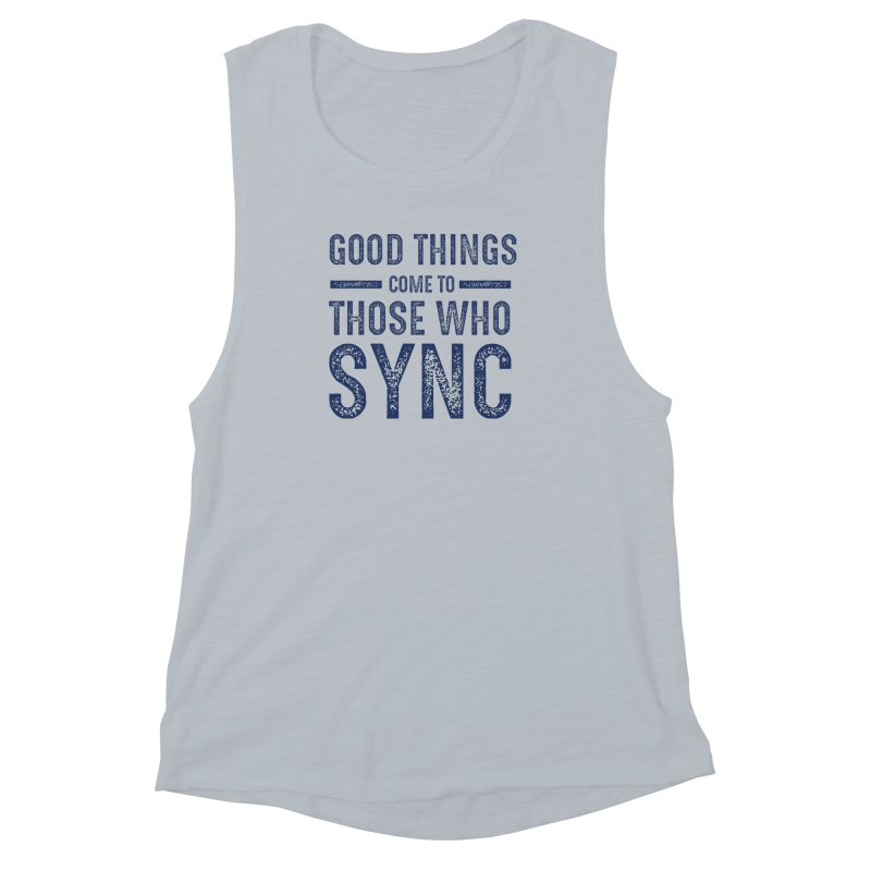 Good Things Navy Women's Muscle Tank by SYNCSTUDIO Sweat Supplies