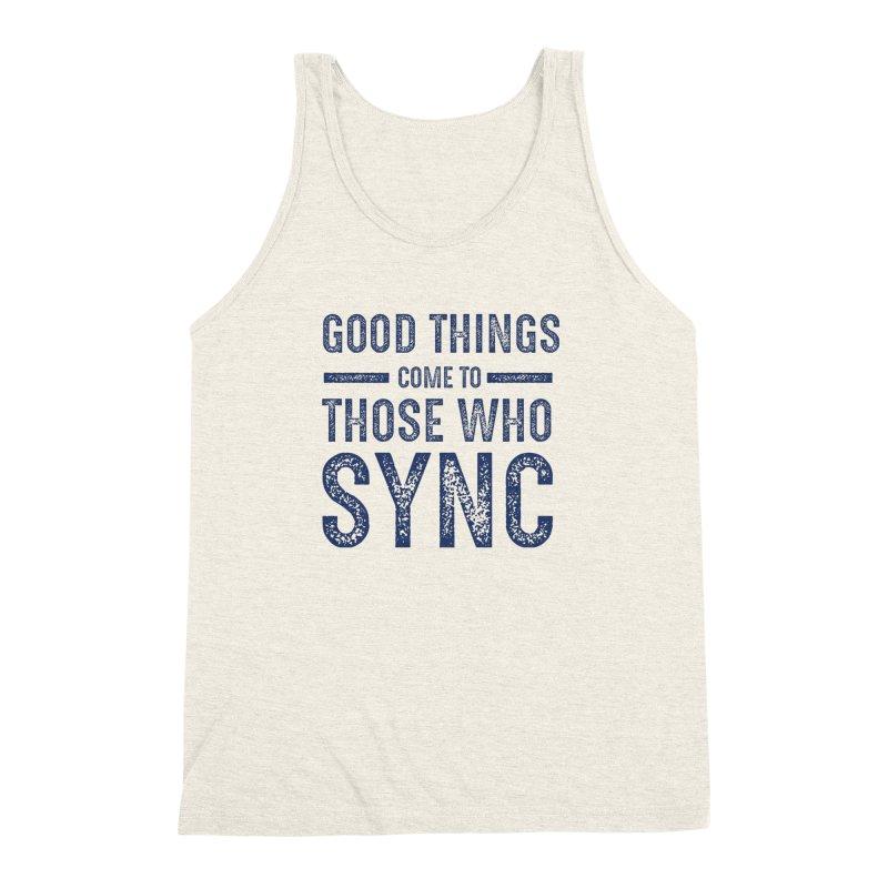 Good Things Navy Men's Triblend Tank by SYNCSTUDIO Sweat Supplies
