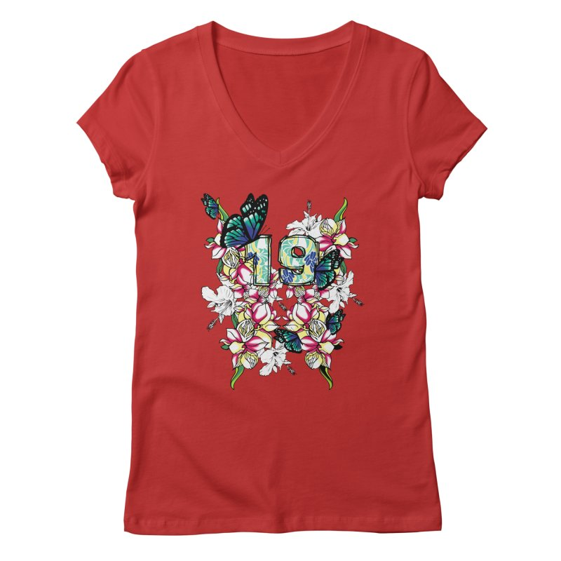 Tropical Butterflies Women's V-Neck by syria82's Artist Shop
