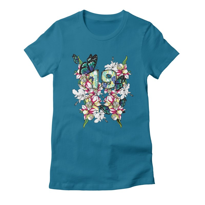 Tropical Butterflies Women's Fitted T-Shirt by syria82's Artist Shop