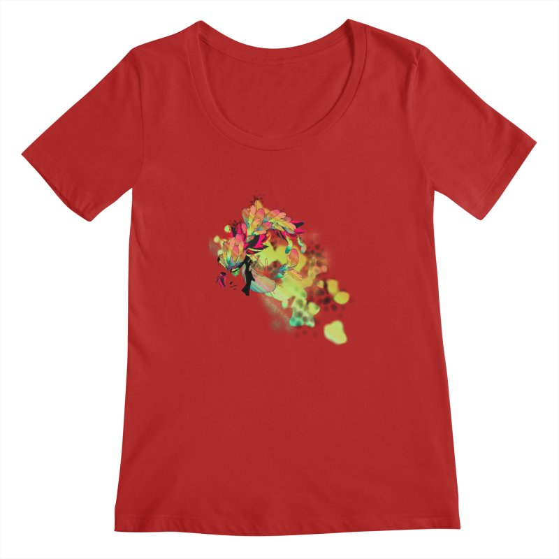 the plumed girl Women's Scoopneck by syria82's Artist Shop