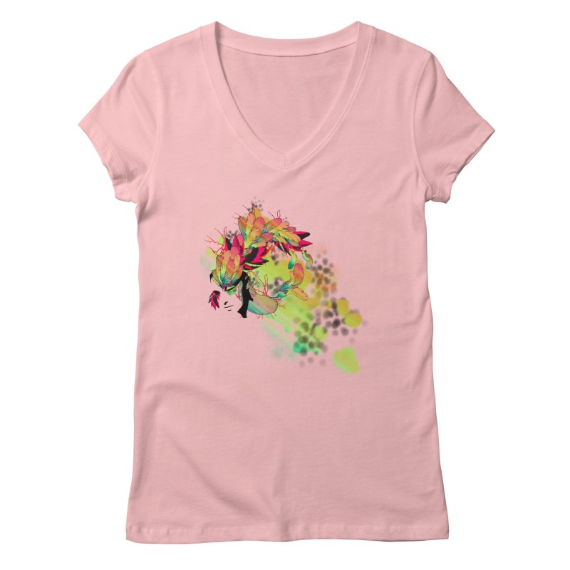 the plumed girl Women's V-Neck by syria82's Artist Shop