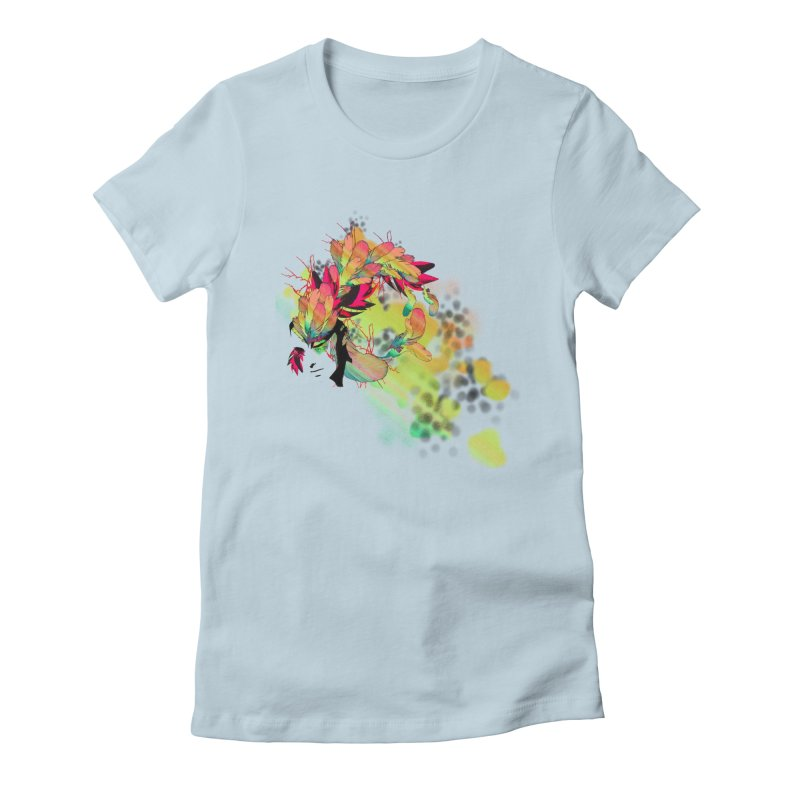 the plumed girl Women's Fitted T-Shirt by syria82's Artist Shop