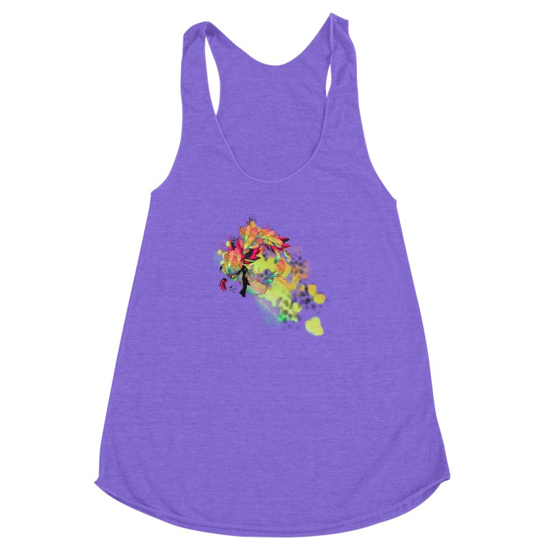 the plumed girl Women's Racerback Triblend Tank by syria82's Artist Shop