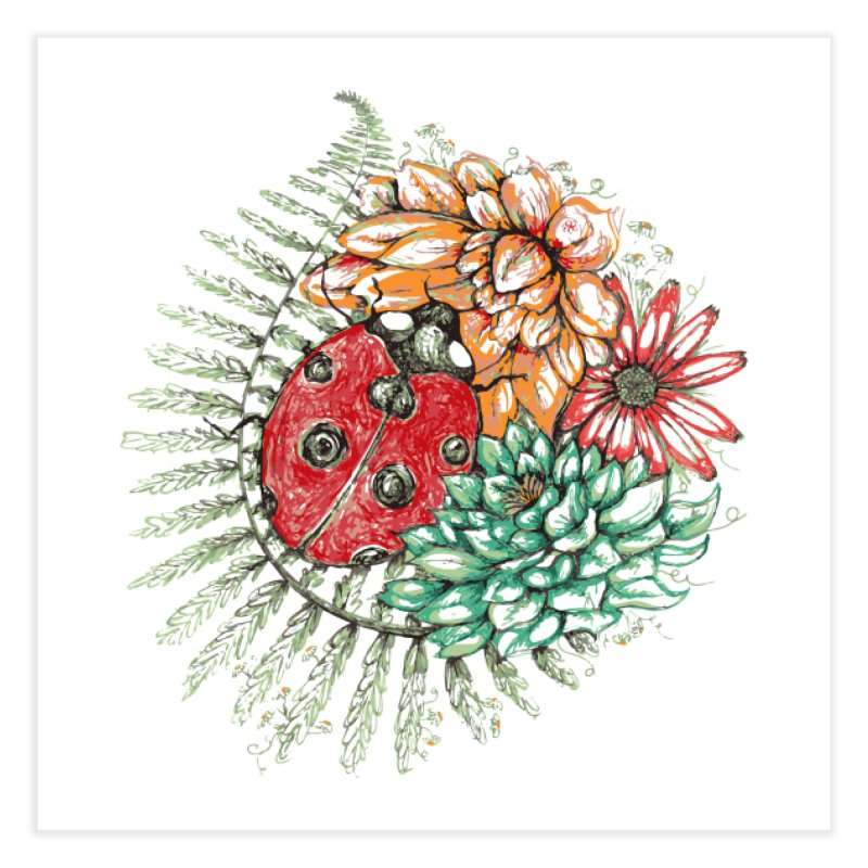 Ladybug on flowers (wall art)   by szjdesign's Artist Shop