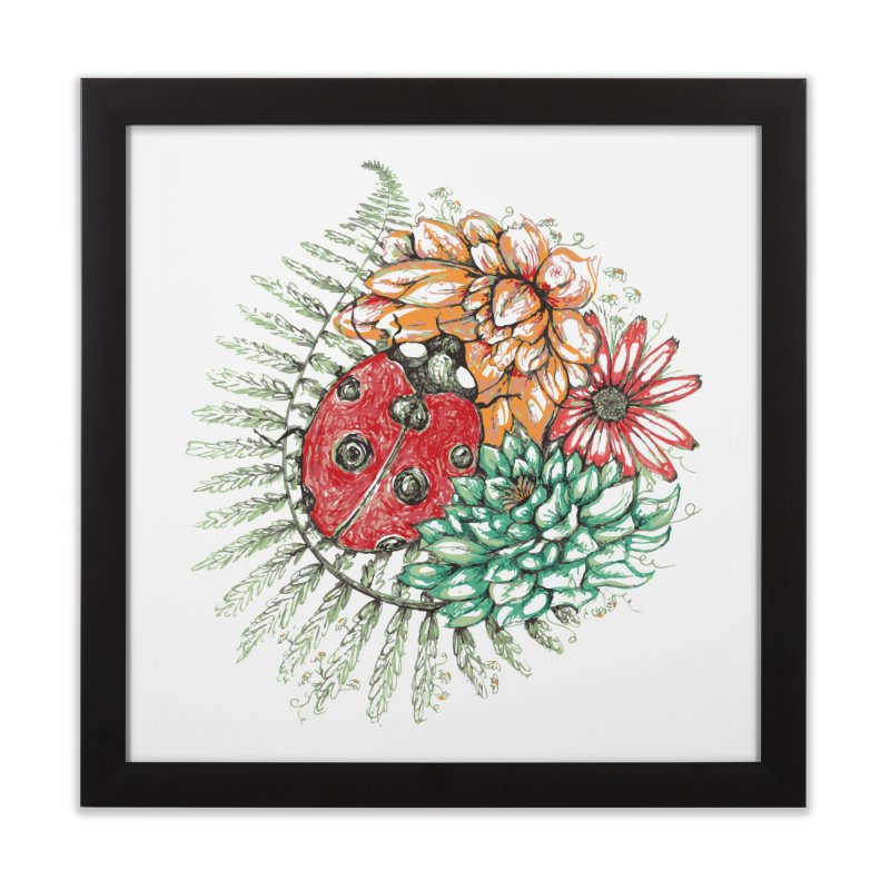 Ladybug on flowers (wall art) Home Framed Fine Art Print by szjdesign's Artist Shop