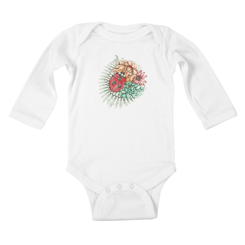 Ladybug on flowers Kids Baby Longsleeve Bodysuit by szjdesign's Artist Shop