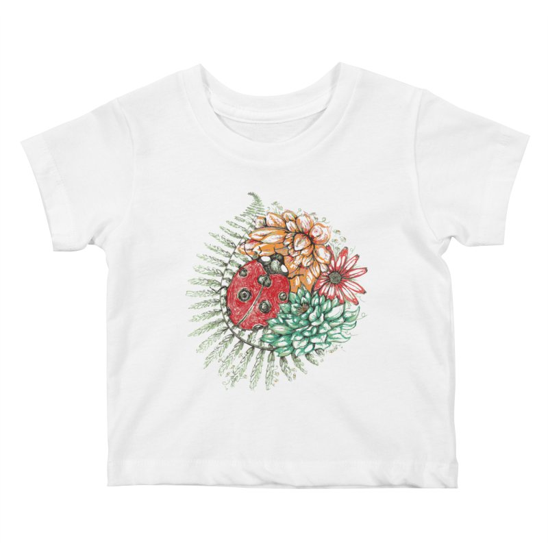 Ladybug on flowers Kids Baby T-Shirt by szjdesign's Artist Shop
