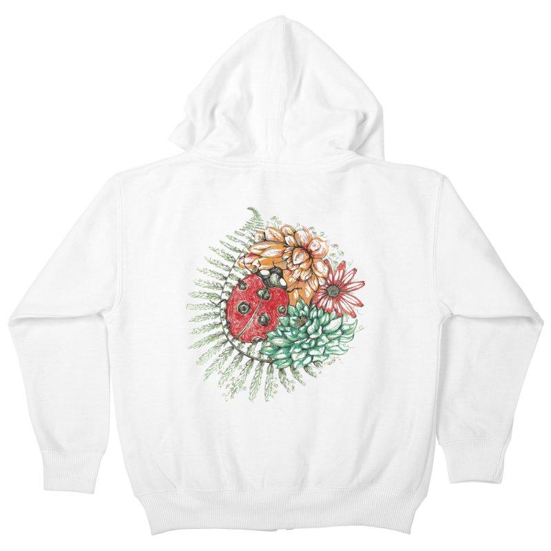 Ladybug on flowers Kids Zip-Up Hoody by szjdesign's Artist Shop